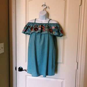 Top Shop Jean Dress with Flower Embroidery